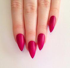 Matte Pink Stiletto nails Nail designs Nail by prettylittlepolish, £10.99