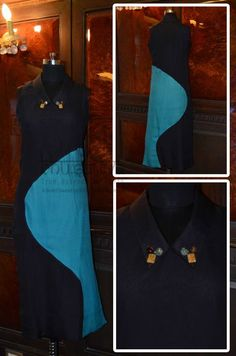 Certified organic natural dyed long indo-western color blocked kurta embellished with semi-precious stones on collar. BhuSattva - True Essence of Earth (www.store.bhusattva.com)