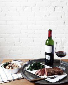 Skillet Steak, Caramelized Potato Gratin + Kale Salad with Pomegranate Vinaigrette