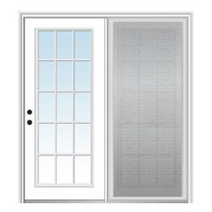 Verona Home Design Fibreglass Smooth 15 Lite External Grilles Clear Glass Primed Centre Hinged Patio Door With Screen Door Size: H x W x Double Sliding Patio Doors, Hinged Patio Doors, Front Doors, Exterior Patio Doors, Patio Door Blinds, Glass Hinges, Glass Doors, Aluminum Screen Doors, Slide Screen