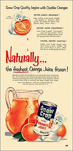 https://flic.kr/p/bB87gP | Snow Crop Juice Ad, c1952 | They worked so hard on this... seems a shame to befoul it with mere H2O. From Family Circle magazine.
