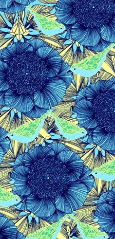 big blue blooms on green leaves (Ana Rosa)