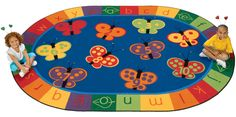 CK-3503 123 ABC Butterfly Fun Rug Carpet, 3'10'' x 5'5'' Oval