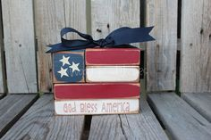 Americana Flag Block Wood Set independence summer flag military 4th of July America primitive country personalized via Etsy