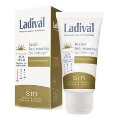 Ladival protección solar PPS30 acción antimanchas con deléntigo reduce y previene las manchas de la piel del rostro, unifica el tono y previene el fotoenvejecimiento.