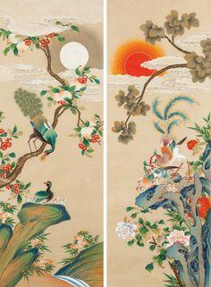 대한민국민화공모대전 - 양현순 - 봉황도 Korean Painting, Chinese Painting, Japanese Patterns, Japanese Art, Asian Paints, Disney Princess Drawings, Peacock Art, Cute Patterns Wallpaper, China Art