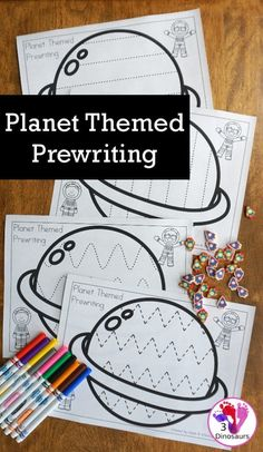 Free Fine Motor Fun: Planet Themed Prewriting Activity - 6 Fun Pages Or Prewriting On A Planet With Ideas Of How To Use Them - Space Theme Preschool, Space Activities For Kids, Space Crafts For Kids, Preschool Learning Activities, Free Preschool, Writing Activities, Classroom Activities, Motor Activities, Sensory Activities