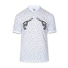 Dolce & Gabbana Gun-embroidered appliqué cotton polo shirt ($745) ❤ liked on Polyvore featuring men's fashion, men's clothing, men's shirts, men's polos, white multi, dolce gabbana mens shirts, mens slim fit white shirt, mens patterned shirts, flower print mens shirt and mens slim shirts