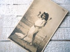 Antique Cupid  postcard  Diane goddess yacht bow by LizKnijnenburg