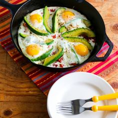 This Baked Eggs Skillet with Avocado and Spicy Tomatoes is Paleo, Low-Carb, and Gluten-Free.
