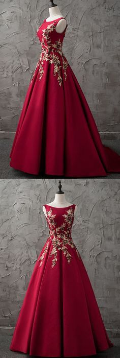 2018 new burgundy satin modest prom dress
