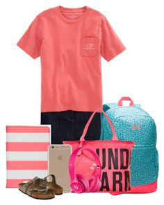 """""""Road Trip"""" by miagracerobinson ❤ liked on Polyvore featuring Hobbs, Under Armour, Vineyard Vines, Kate Spade, Agent 18, Apple and Birkenstock"""
