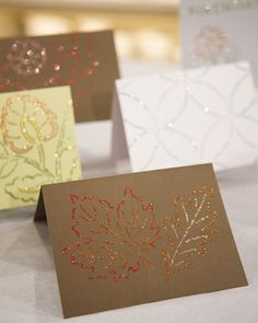 We used a quilting stencil to create these glittered cards with beautiful gradations of color.