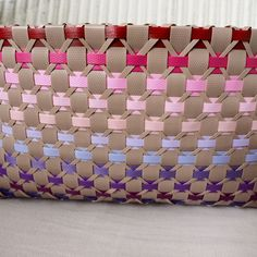 Plastic Canvas Stitches, Lace Bag, Candy Wrappers, Weaving Patterns, Basket Weaving, Leather Bag, Throw Pillows, Paper, Baskets