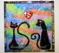 Cats in love warm glass picture