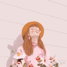 Flower girl illustration by Malena Flores Portrait Illustration, Illustration Girl, Girl Illustrations, Graphic Design Print, Art Graphique, Aesthetic Art, Beautiful Artwork, Art Inspo, Art Girl