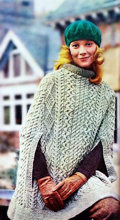 Knitting Pattern for Cape Sweater, Poncho, Shawl in Aran Irish Fisherman Pattern (PDF)