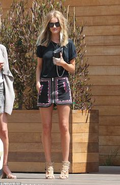 Outing: On Saturday, Rosie Huntington-Whiteley, 29, enjoyed a low-key lunch with pals at Soho House in Malibu