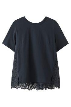 レースドッキングTシャツ ミュベール/MUVEIL Basic Style, My Style, New Details, Japan Fashion, Shirt Blouses, Tunic Tops, T Shirts For Women, Crop Tops, Womens Fashion