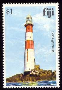 Solo Lighthouse postage stamp image  posted by Klaus Huelse   Southern Fiji Lighthouses