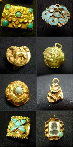 Gold jewelry pieces from the ancient Tibetan Empire in China. 7th-9th c. Exhibited Art Museum CUHK 2013-14