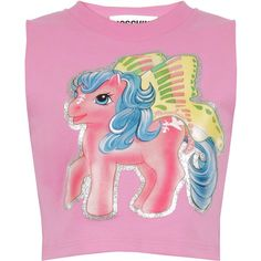 Moschino My Little Pony Crop Top ($435) ❤ liked on Polyvore featuring tops, cut-out crop tops, graphic tops, pink embellished top, graphic print top and pink top