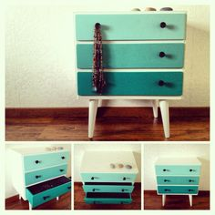 Ombre painted dresser  Love these colors for repainting my corner stand