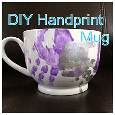 DIY handprint mug my daughter and I made, Enamel acrylic paint(make sure it's enamel!) on a ceramic or porcelain mug, coated her hand and stamped it on a few times, then used a sharpie to write the date on(this will bake on as well), baked at 300 for 45 minutes at least--seems like it would be top-rack dishwasher safe but I would hand wash it..