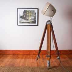 A classic and unique vintage tripod light perfect for your lounge or studio and anywhere that needs a little classic vintage. The base is made from a restored vintage wood and metal surveyor tripod. The lamp shade is a classic old repurposed 60's hairdryer casing.  This is a very unique lamp, as the old hairdryer casings are very rare, and the tripod stands are also difficult to find. The hairdryer casing does have some cracks on the outer plastic area which can be seen in the first photo… Vintage Wood, Unique Vintage, Unique Lamps, Green Fabric, Tripod Lamp, Old Wood, Wood And Metal, Hair Dryer, Repurposed