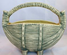 1959 McCoy pottery green basket centerpiece.