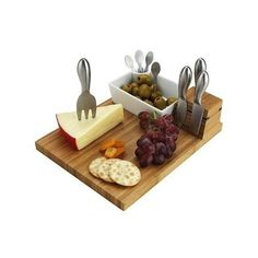 Cheese Cutting Board Stainless Steel Tools Set Bamboo Wood Kitchen Wine Serving #PicnicatAscot