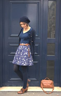 Love this concept: Add tights & sweater to a summer skirt & tee for a fall look!