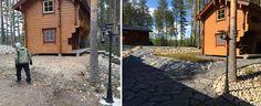 Selkeästi rajatut kulkuväylät, kuntta ja seulanpääkivet jäsentävät loma-asunnon pihapiiriä. Valkoinen aine rinteessä olevien maisemaliuskeiden välissä on piimää, joka edesauttaa sammalen kasvua. Asennus: Viinijärven Kivi Oy