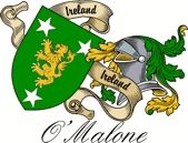 O'malone Irish Sept Coat of Arms from the website  www.4crests.com #coatofarms #familycrest #familycrests #coatsofarms #heraldry #family #genealogy #familyreunion #names #history #medieval #codeofarms #familyshield #shield #crest #clan #badge #tattoo