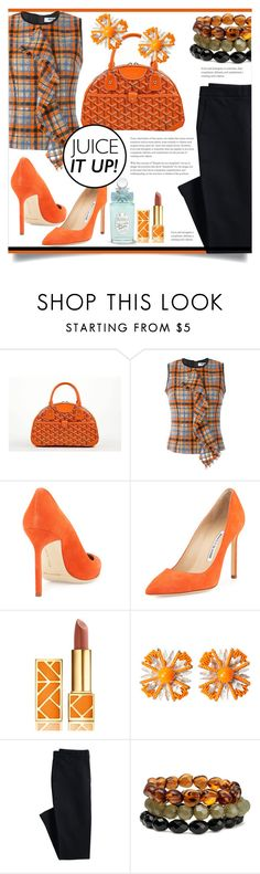 """Untitled #225"" by mahafromkailash ❤ liked on Polyvore featuring Goyard, MSGM, Manolo Blahnik, Tory Burch, Miriam Haskell, Canvas by Lands' End and H&M"