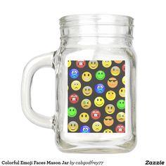 Colorful Emoji Faces Mason Jar