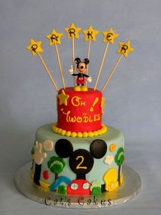 Pretty Image of Mickey Mouse Clubhouse Birthday Cake . Mickey Mouse Clubhouse Birthday Cake Mickey Mouse Clubhouse Birthday Cake Lemon Chiffon Cake With Mickey Birthday Cakes, Mickey And Minnie Cake, Birthday Cake For Cat, 2nd Birthday, Birthday Ideas, Happy Birthday, Birthday Parties, Mickey Mouse Cake Decorations, Birthday Decorations