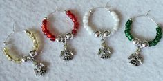 Christmas Wine Glass Charms  Set of 4  ANGELS by uniquelyyours2010, $8.50