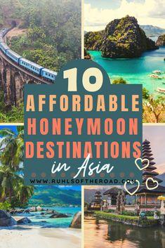 10 Incredible Budget Honeymoon Destinations in Asia - Ruhls of the Road asia destinations Honeymoon Destinations All Inclusive, Honeymoon On A Budget, Affordable Honeymoon, Amazing Destinations, Travel Destinations, Best Destination For Honeymoon, Honeymoon Pictures, Romantic Honeymoon, Honeymoon Ideas