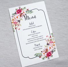 Rustieke Card aquarel bloemen menukaart door LoveofCreating