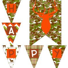 Boys Camo Birthday Party Decorations Digital Printable Package