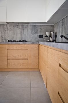 Nowoczesny styl i stonowana kolorystyka - PLN Design Kitchen Room Design, Modern Kitchen Design, Kitchen Layout, Interior Design Kitchen, Kitchen Decor, Kitchen Modular, Kitchen Cabinet Styles, Concrete Kitchen, Küchen Design