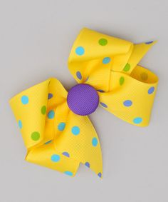 Take a look at this Yellow Polka Dot Button Bow Clip by Picture Perfect Hair Bows on #zulily today!