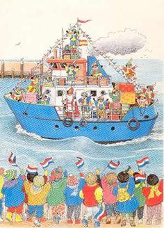 Prent - De stoomboot van Sinterklaas