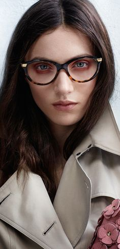British model Matilda Lowther wearing optical frames from The Trench Collection in the Burberry Eyewear S/S14 campaign