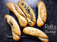 Rohlíky z kvásku Hot Dog Buns, Hot Dogs, Sourdough Rolls, Food Design, Bread Recipes, Food And Drink, Banana, Fruit, Ethnic Recipes
