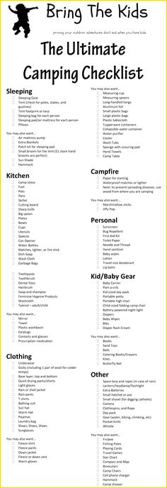 Camping Lists Printable Template Camping Checklist Pinterest - camping checklist template