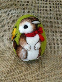 Animal felt Needle felted Egg Bunny ornament by TuttiQuiltStudio