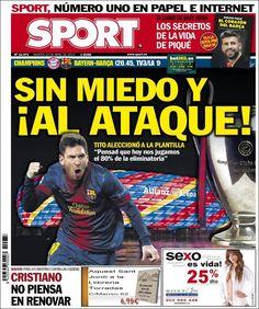 Los Titulares y Portadas de Noticias Destacadas Españolas del 23 de Abril de 2013 del Diario Deportivo Sport ¿Que le parecio esta Portada de este Diario Español?