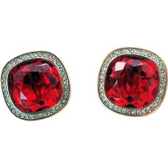 Daniel Swarovski Company Dsc Signed 1980 S Rare Clip On Earrings Huge Faceted